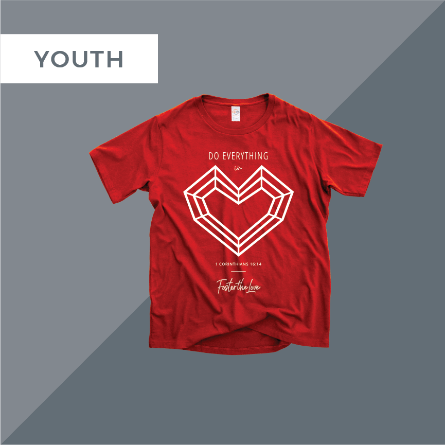 Do Everything In Love short sleeve youth t-shirt in red, benefitting Foster The Love Louisiana