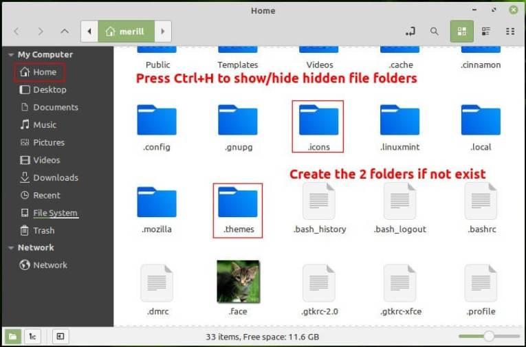 theme & icon folders