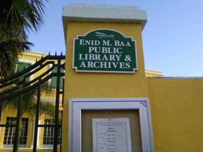 Enid M. Baa Public Library sign (file photo, 2009)