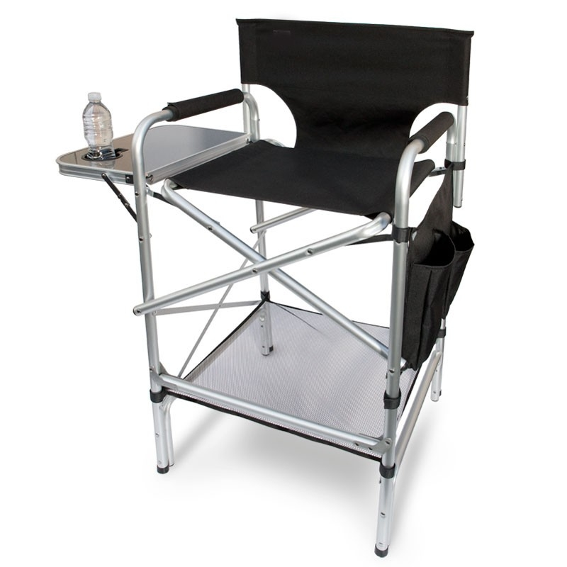 tall folding chairs directors chair covers to hire aluminum ideas on foter world class heavy duty with side table cup holder footrest