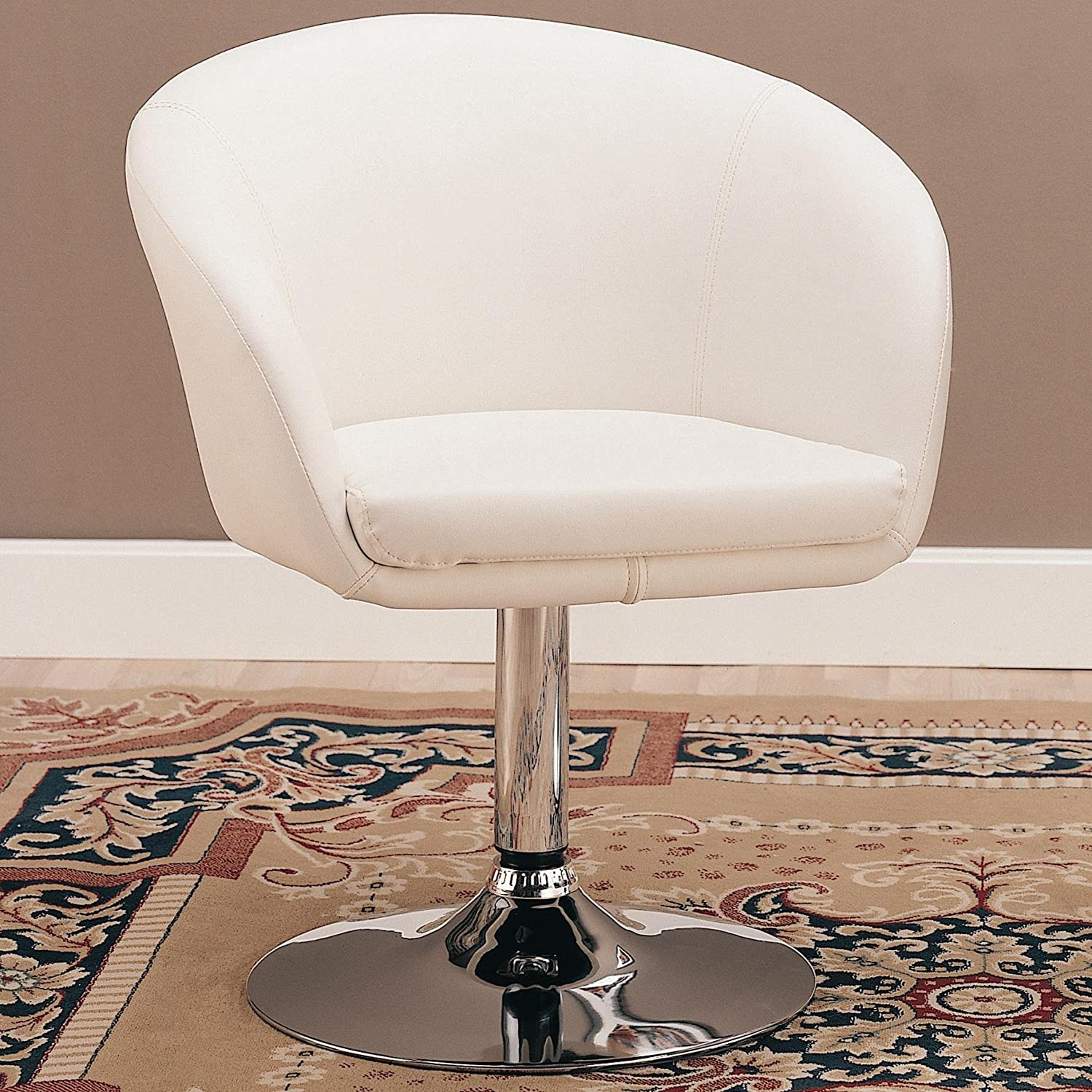 revolving chair for kitchen eiffel wire swivel dining chairs ideas on foter in white bycast leather like vinyl