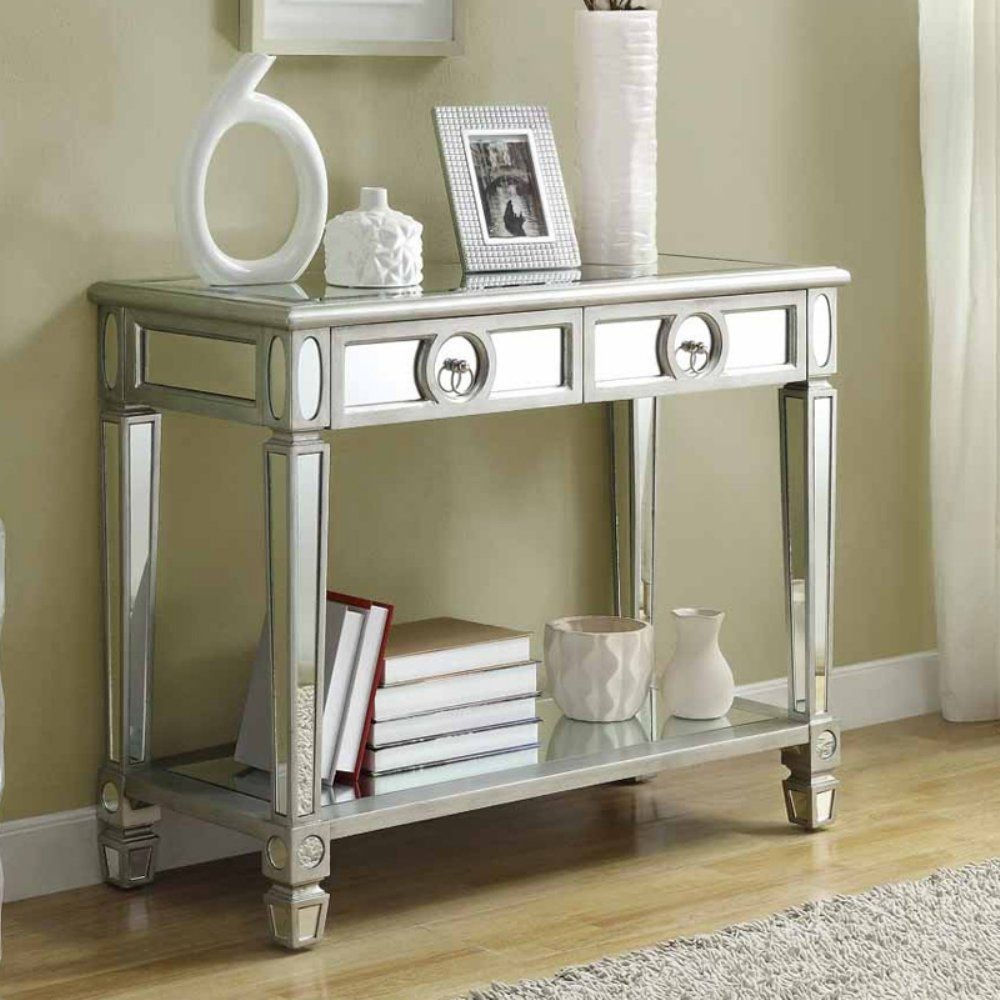 monarch specialties mirrored 38 sofa console table with drawers living room furniture bed white - foter