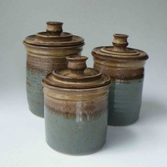 Kitchen Pottery Canisters Cabinet Redooring Ceramic Sets Ideas On Foter Made To Order Set Of 3