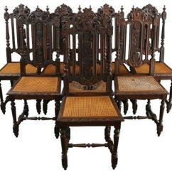 Antique Cane Dining Room Chairs Red Chair Covers Ideas On Foter 6 1880 French Hunting Style Regal Carved Oak Seats
