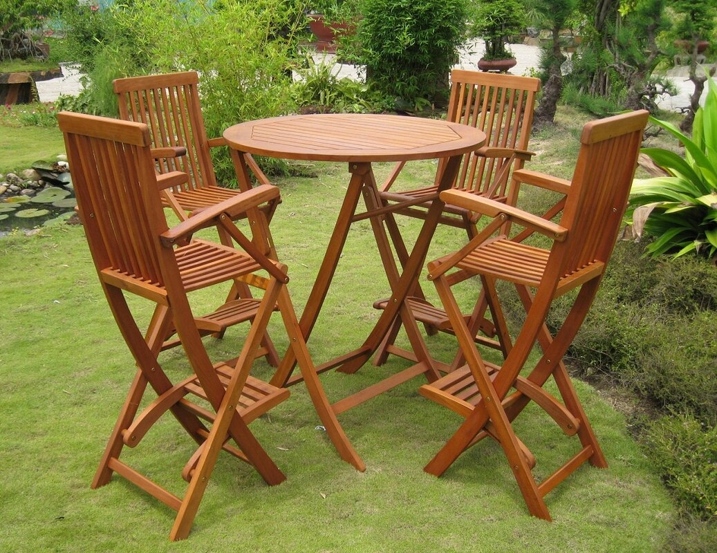 outdoor high top table and chairs set moms baby chair bar height patio furniture sets ideas on foter seville 5 piece