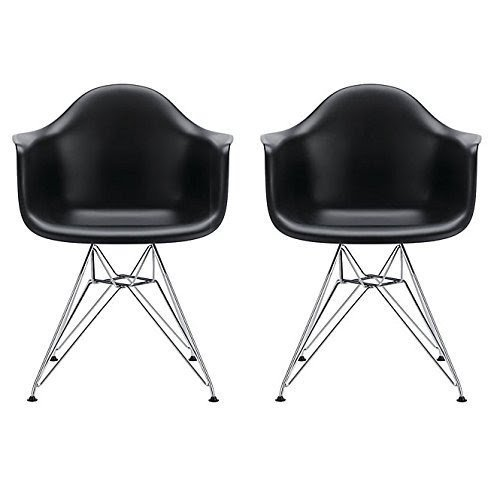 eames style plastic chair fisher price zen high molded arm ideas on foter 2xhome set of 2 black armchair with eiffel legs dinning