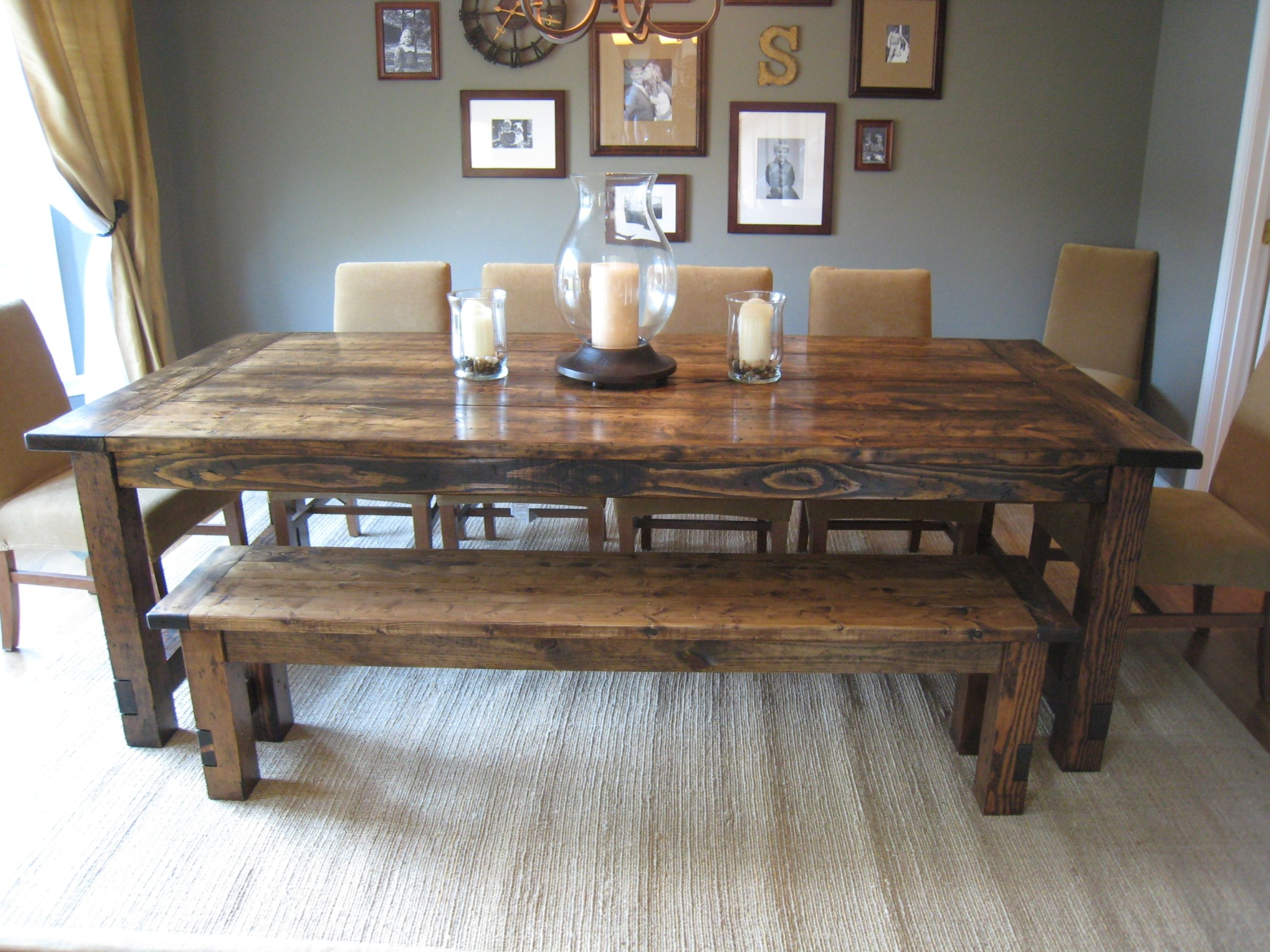 rustic farm table and chairs ikea orange chair covers farmhouse dining with bench ideas on foter