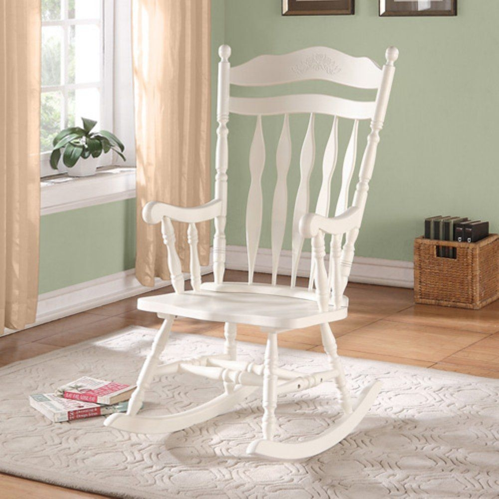 white wood rocking chair futon cushion covers wooden indoor chairs ideas on foter monarch embossed back solid antique