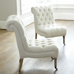 White Tufted Chair Yoga For Seniors Breathing Exercises Arm Chairs Ideas On Foter 1