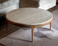Round Stone Top Coffee Table - Foter