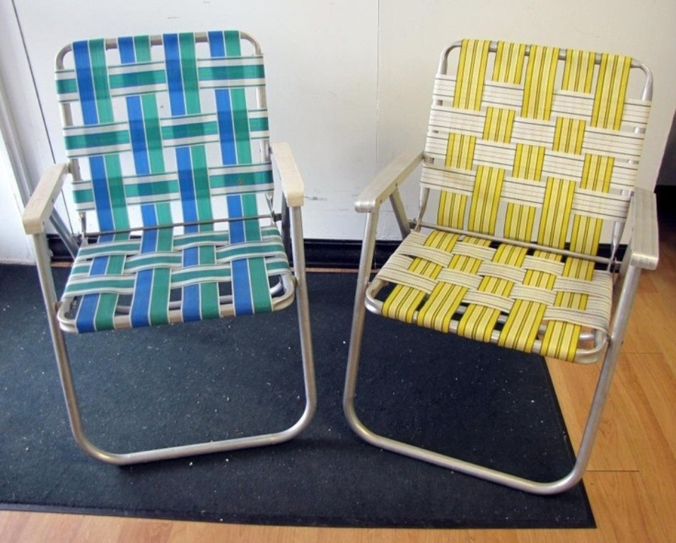 webbed folding lawn chairs blue club chair with ottoman aluminum ideas on foter pair retro vtg vintage web