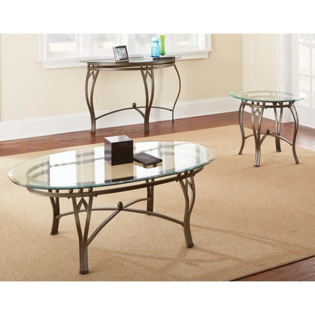 round glass coffee table metal base - foter