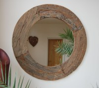 Large Round Wood Mirror - Foter