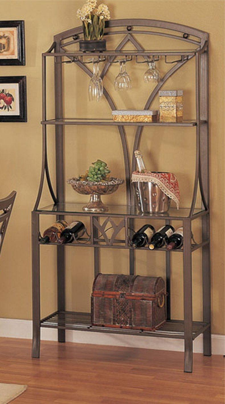 Metal Bakers Rack With Wine Storage  Ideas on Foter