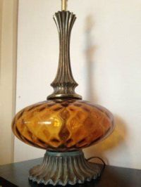 Amber Glass Table Lamp - Foter