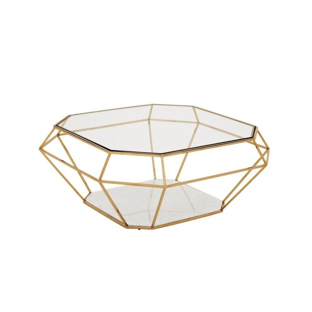 glass top coffee table with metal base - foter