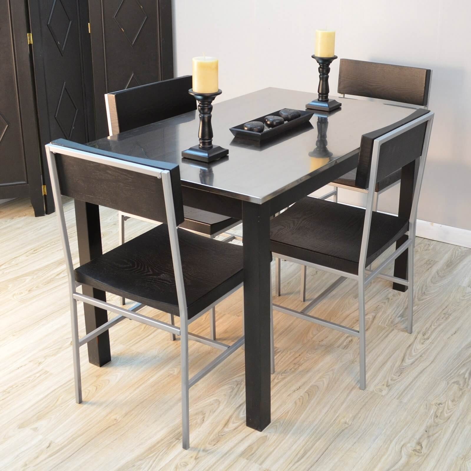 steel kitchen table unusual gadgets stainless top dining ideas on foter set