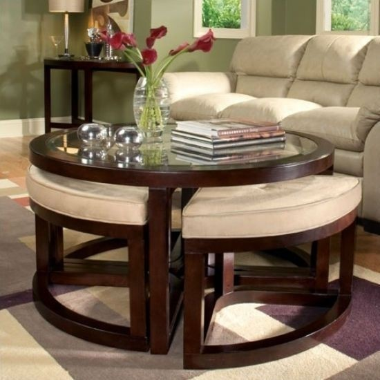 coffee table with 4 storage ottomans