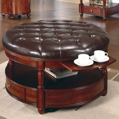 round coffee table with storage ottomans - foter