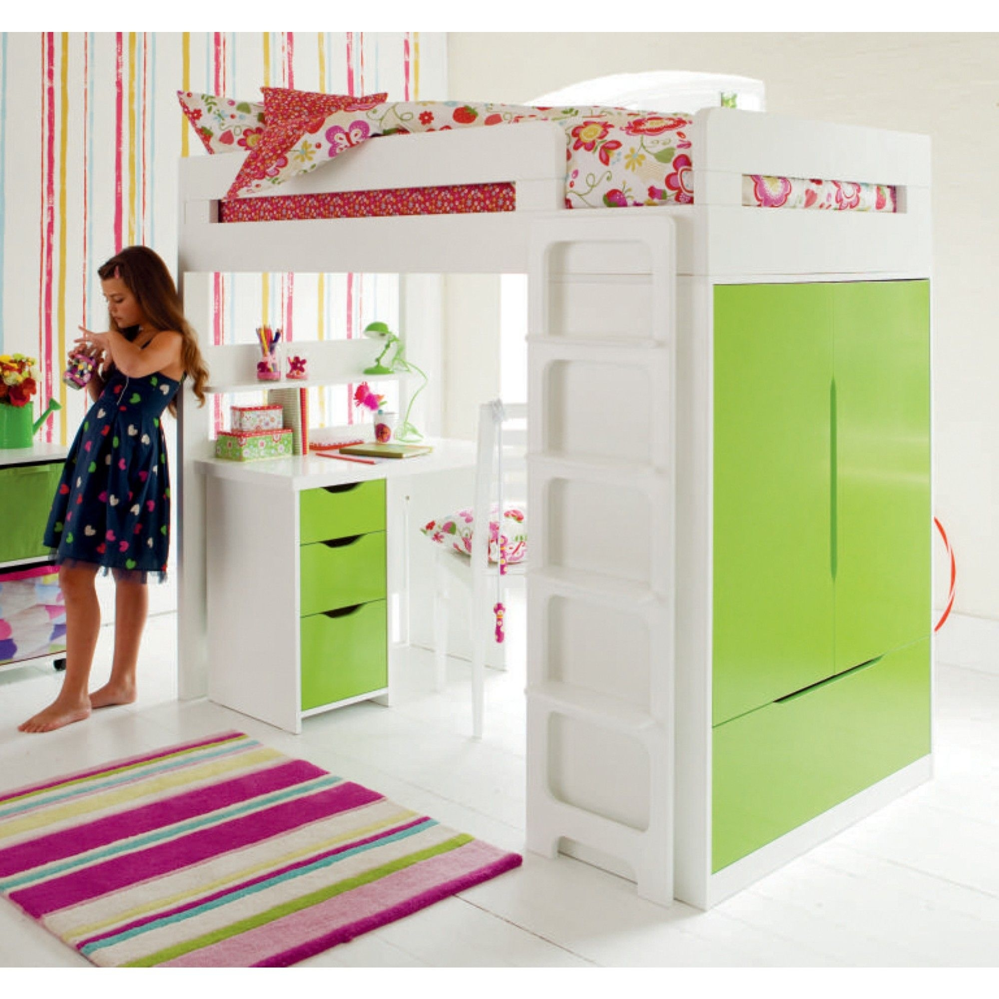 Kids Loft Bed With Desk Underneath Ideas On Foter
