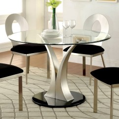 Round Glass Kitchen Table Cabinet Organizers For Pots And Pans Top Dining Room Ideas On Foter Furniture Of America Sculpture Iii Contemporary
