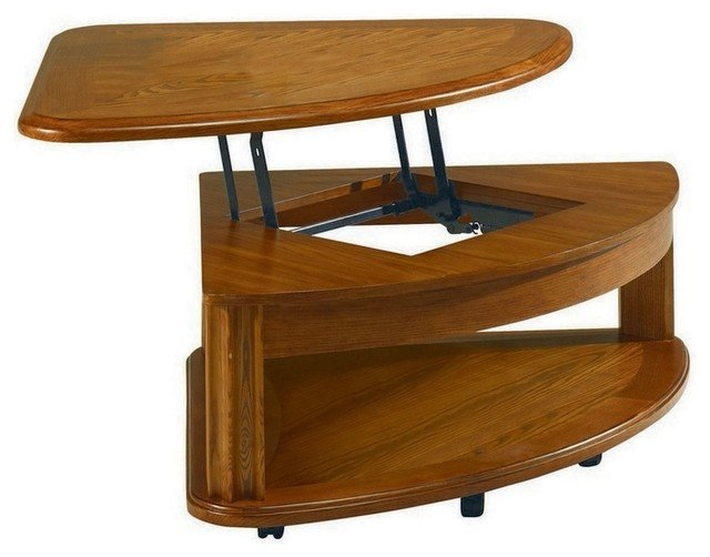 pie shaped lift top coffee table