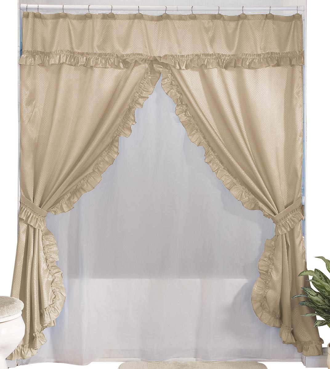 Double Swag Shower Curtain Foter Homemade Wall Decoration Ideas