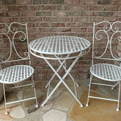 Metal Patio Chair Modern Dining Chairs Canada Wrought Iron Furniture Sets Ideas On Foter Camilla Series White Bistro Set Anti Rust Table