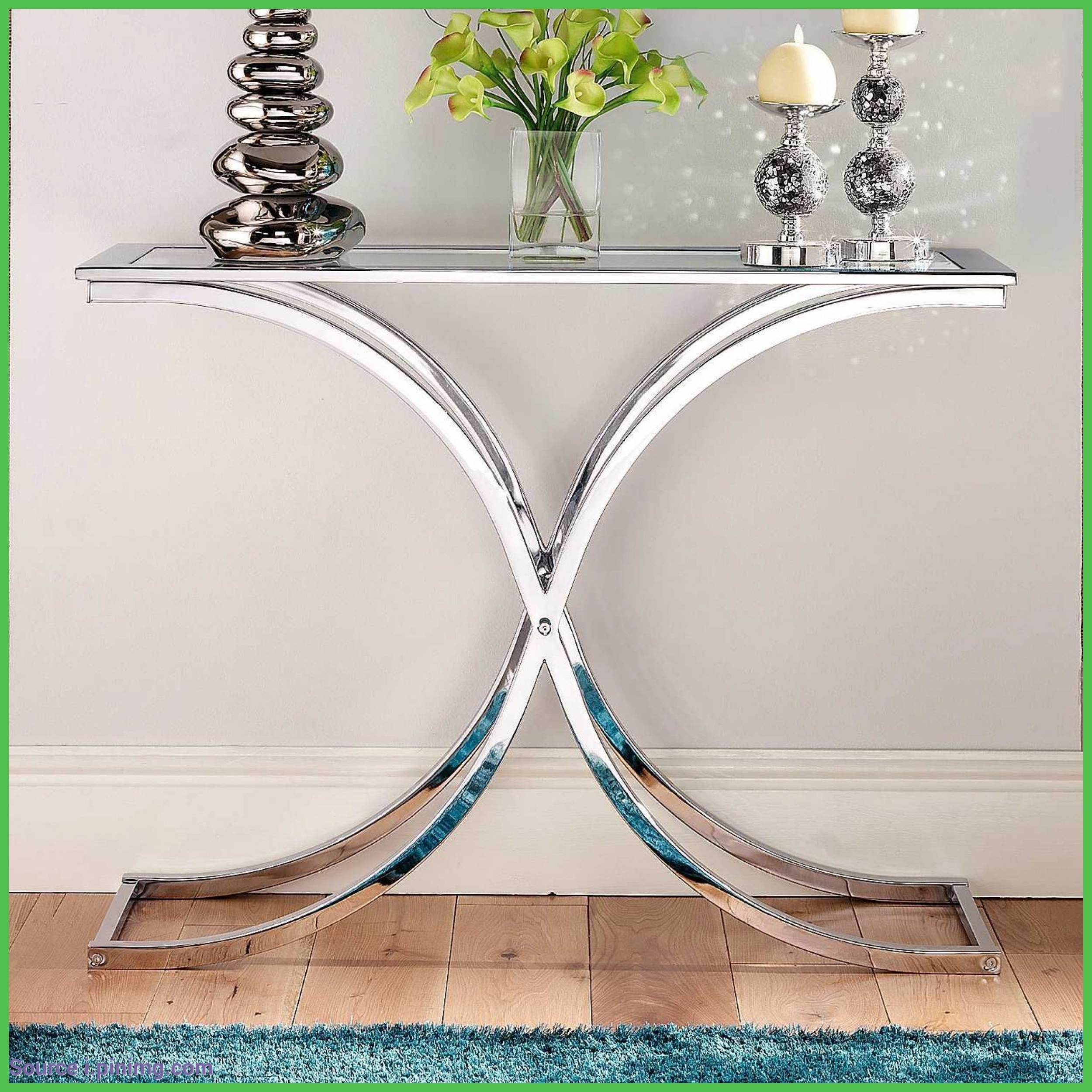 glass and chrome console table ideas