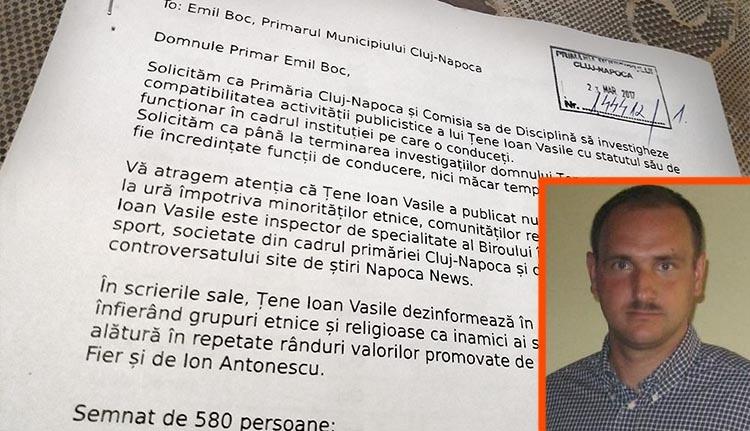 Iktatták a Ţene-ellenes petíciót a kolozsvári városházán