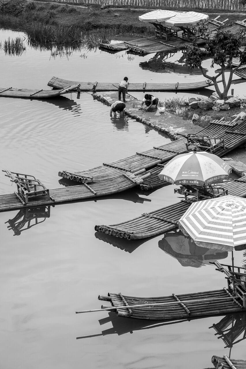 Fotokunst af Bambus Rafter