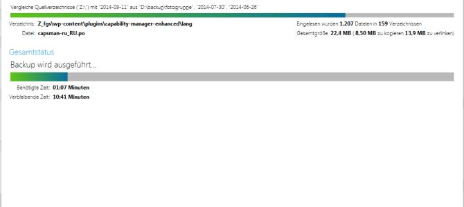 Website Sicherung (backup) erstellt
