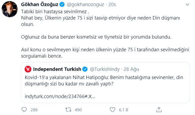 نهاد خطيب أوغلو ، الذي أصيب بفيروس كورونا ، قال لمن يبتهج به على أنه «عدو الدين»! كان رد Gökhan Özoğuz سريعًا