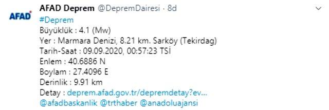 الدقيقة الماضية: زلزال بقوة 4.1 درجة في بحر مرمرة! شعرت أيضا في اسطنبول