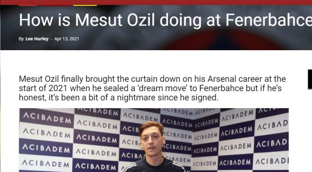 """İngiliz basınından Mesut yorumu: """"Arsenal'dan gitti ama dürüst olalım Fenerbahçe kabus oldu"""""""