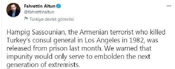 İletişim Başkanı Altun: Tarihi çarpıtmak Ermeni aşırıcıları daha da cesaretlendiriyor