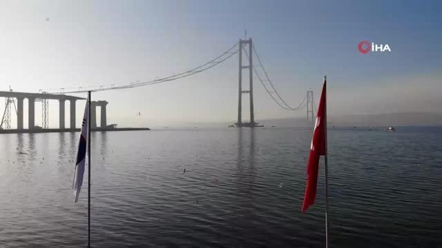 1915 canakkale koprusu nde ana halat kablolar 2 14097344 o - 1915 Çanakkale Köprüsü nde ana halat kablolarının montajında sona gelindi