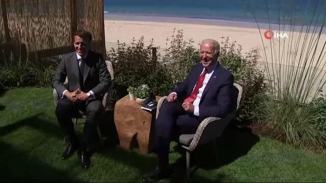 """Biden ve Macron'dan G7 görüşmesiMacron: """"Kulübün parçası olan ve işbirliği yapmaya çok istekli bir ABD Başkanı olması harika"""""""