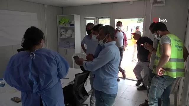 Havalimanı inşaatı işçilerine aşılama