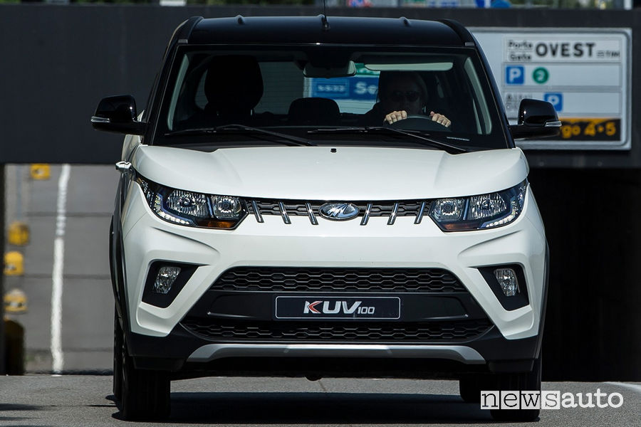 Mahindra KUV100 NXT K8 front view in motion