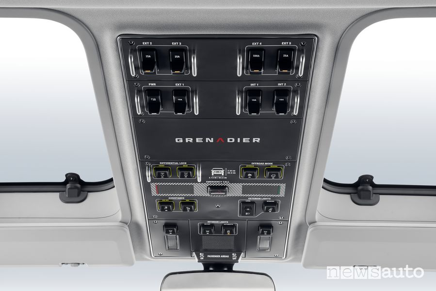 Ineos Grenadier roof-mounted push-button panel controls