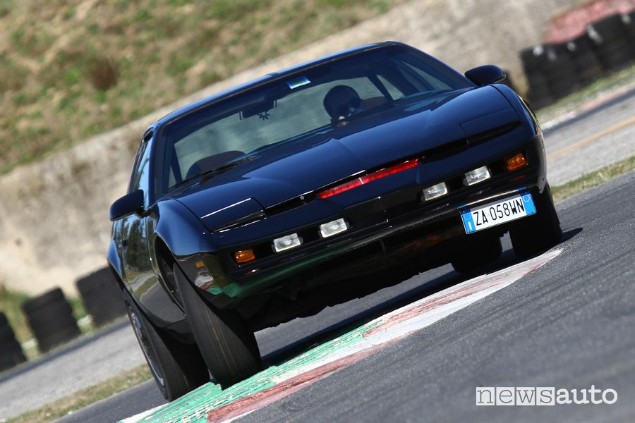 Front view of the KITT Supercar on the track at the Isam in Anagni