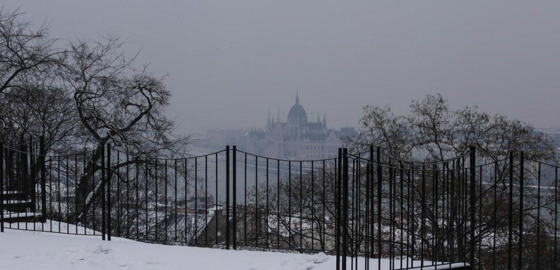 Budapest Parliament in mist