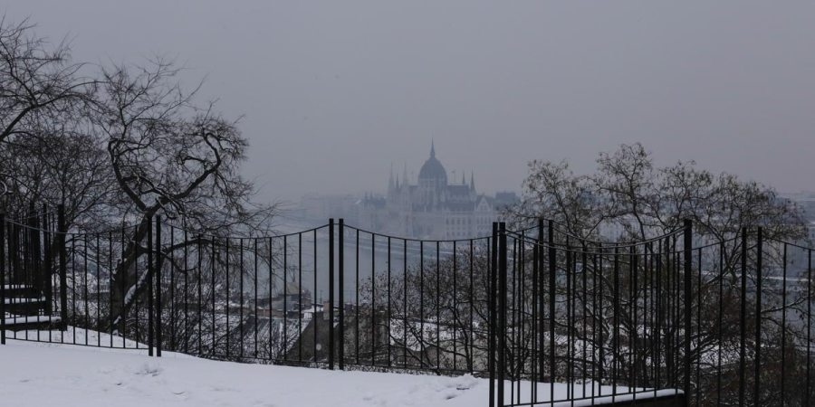 Budapest Parliament in mist