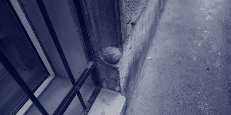 Blue Photo - Ball in Wall
