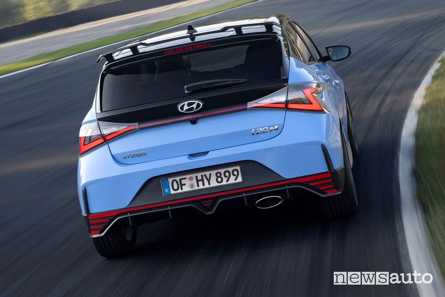 Hyundai i20 N cornering on the track
