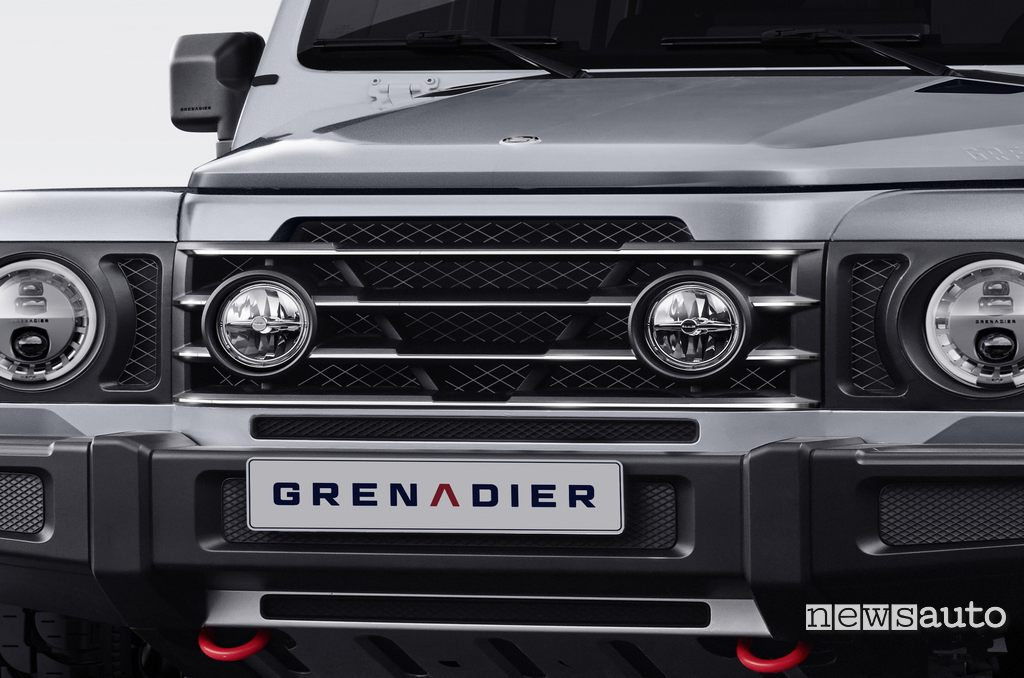 INEOS Grenadier grille with additional headlights and LED light clusters