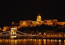 Danube River in the evening, with Chain Bridge and Buda Castle as the background. Budapest, Hungary.