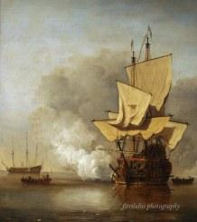 The Canon Shot by Willem Van de Velde ii (1633-1707)