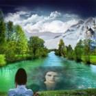 Fotomontajes paisajes hermosos con tu rostro reflejado.